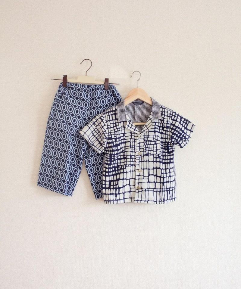 KIDS yukata fabric summer shirt & pants (no.298)