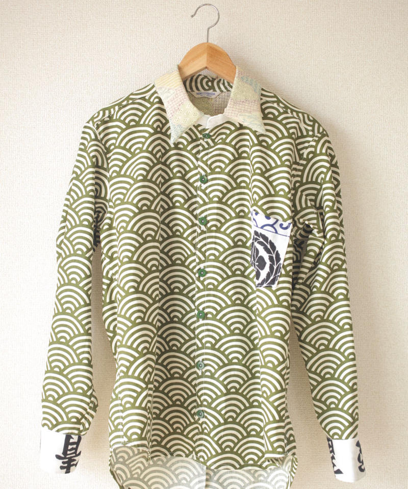 Men's green wave pattern x Kanji long sleeve shirt (no.057)