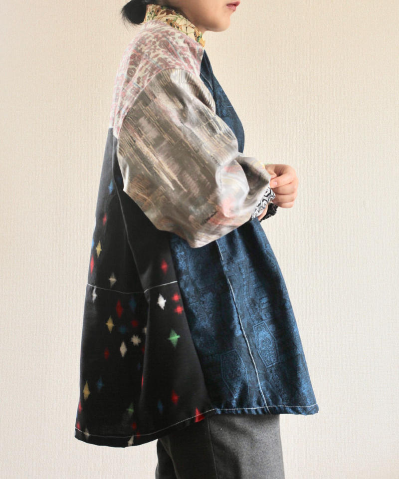 Boyish x unique patchwork Kimono oversized shirt (no.230)