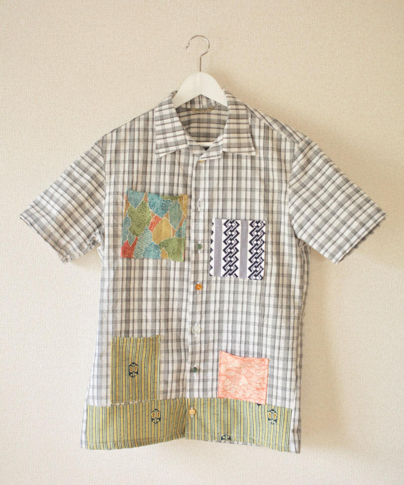 check pattern x various kimono pockets open collar shirt (no.200)