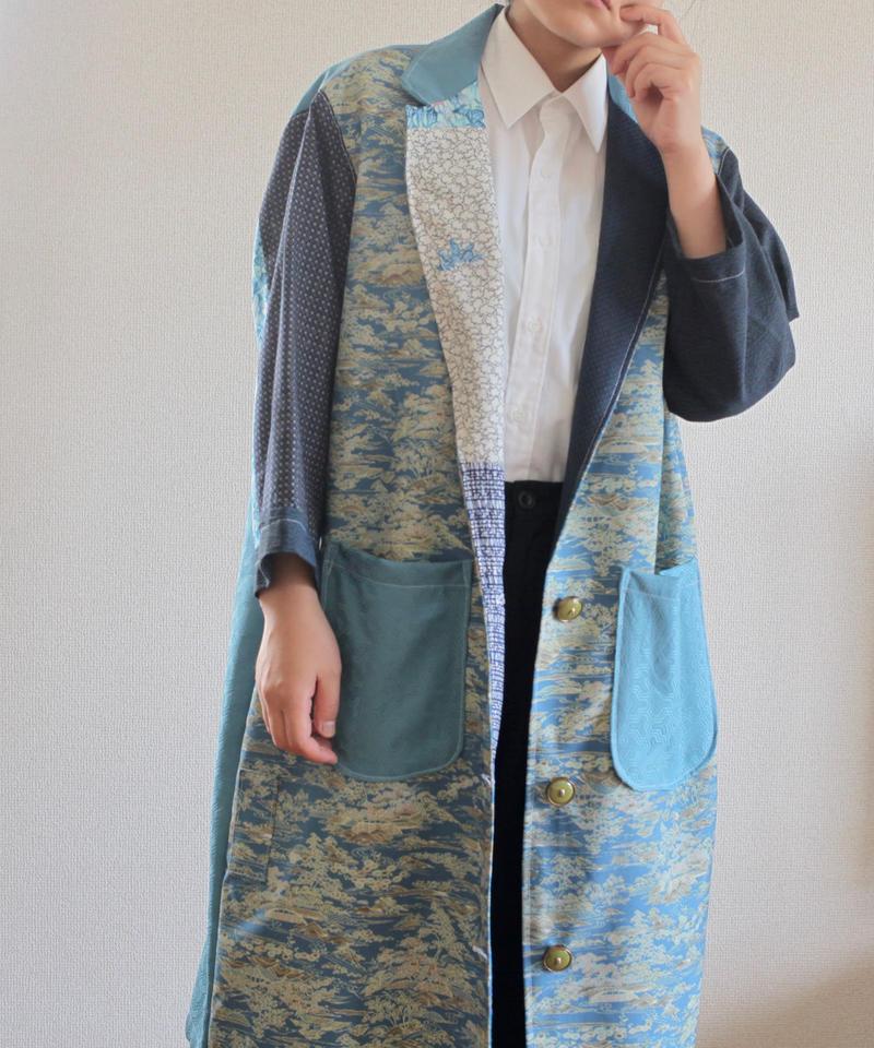 Japanese blue Kimonos Unisex Long Jacket (no.184)
