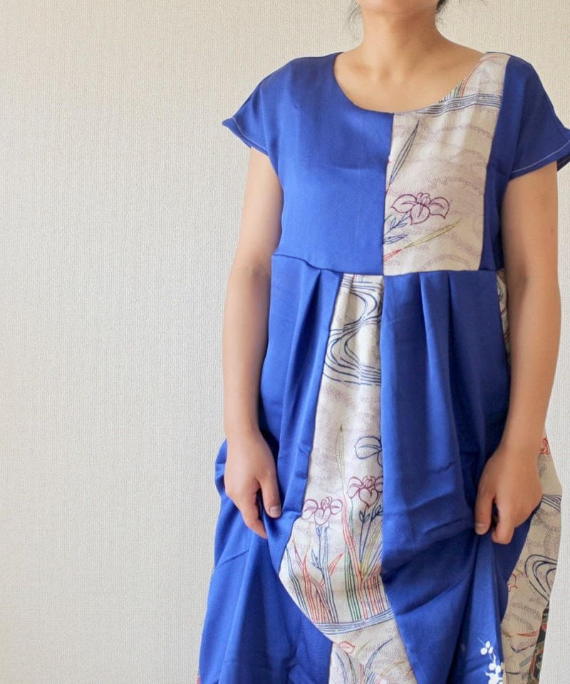 Blue&flower pattern Kimono one-piece dress (no.189)