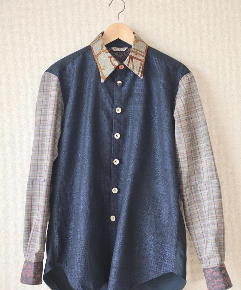 Men's blue pattern kimono casual shirt (no.081)