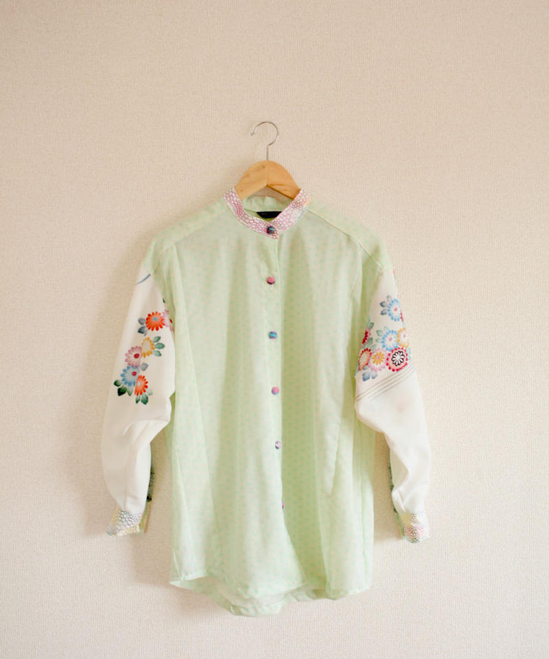 Pastel color & Flower Kimono oversized Shirt (no.266)