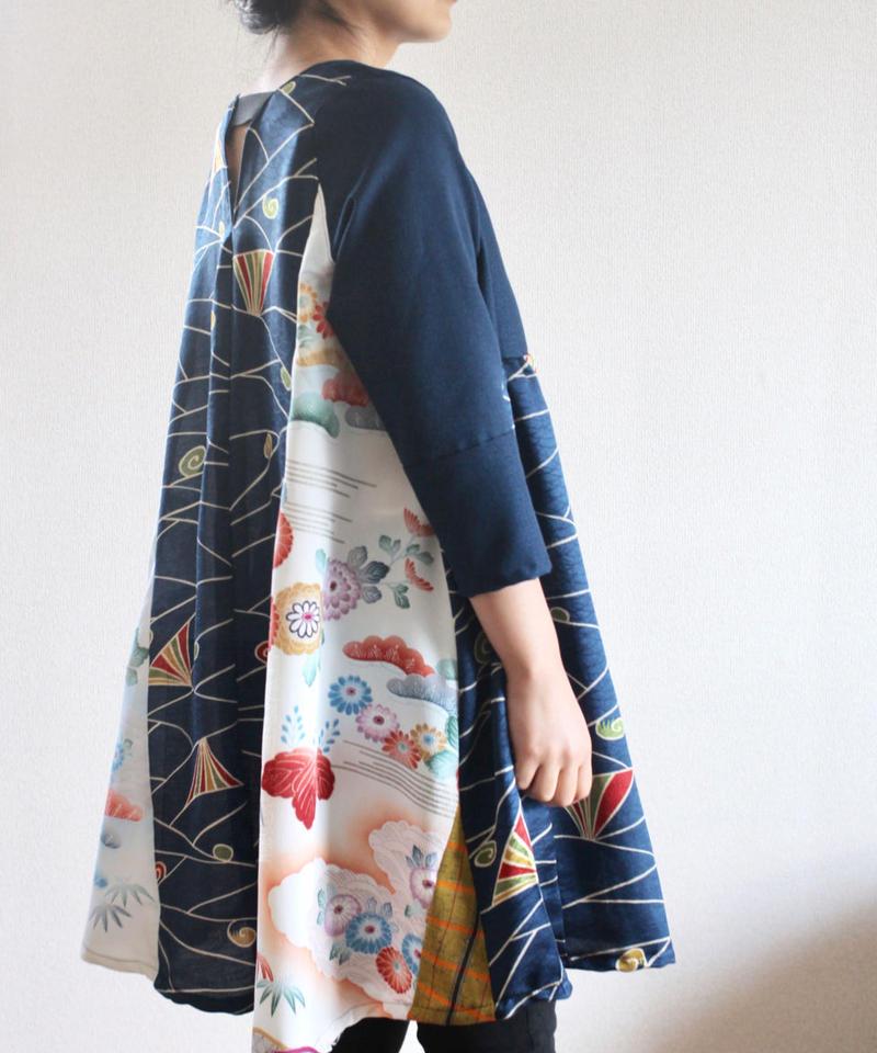 Dark blue & Flower Kimono Tunic (no.242)