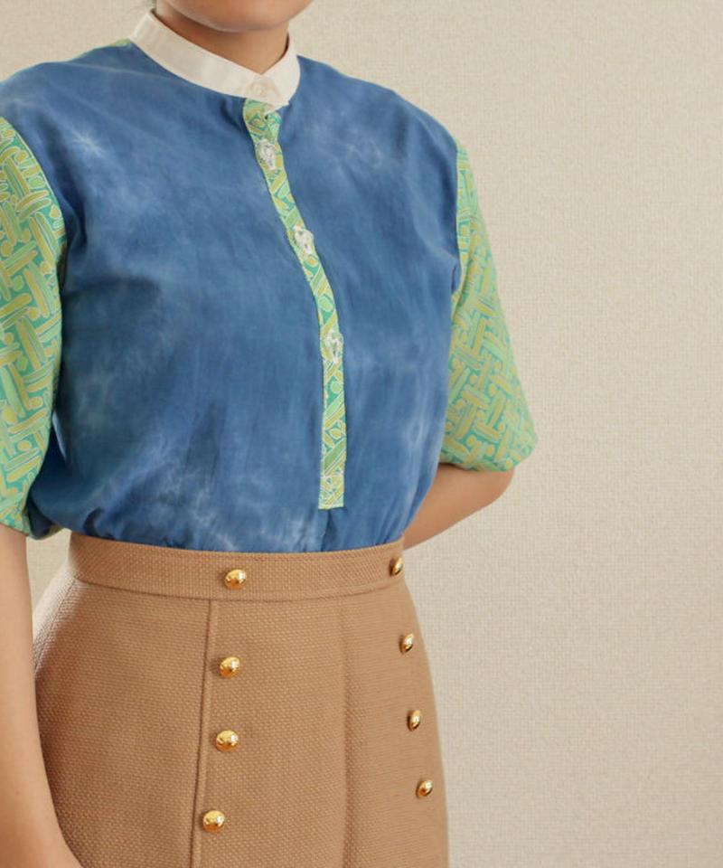 Pastel blue x green Summer half placket shirt (no.150)
