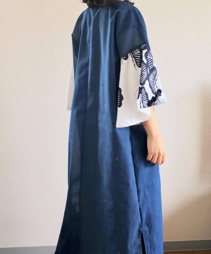 Flare sleeves Japanese Blue summer Long Dress (no.318)