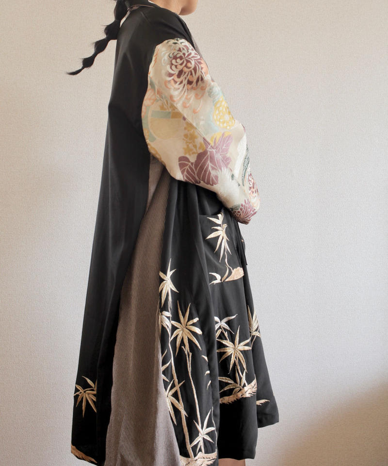 Antique flower Obi & Black Kimono Long Jacket (no.283)