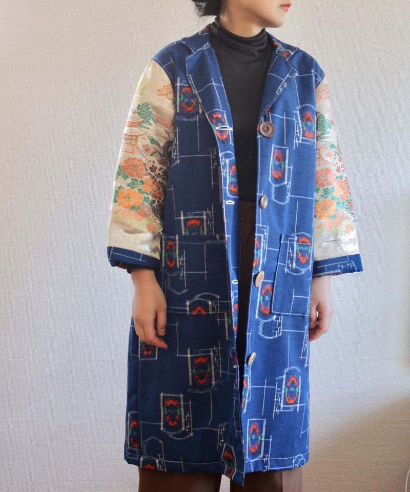 Gorgeous Obi & Blue cotton Kimono Long Jacket (no.270)