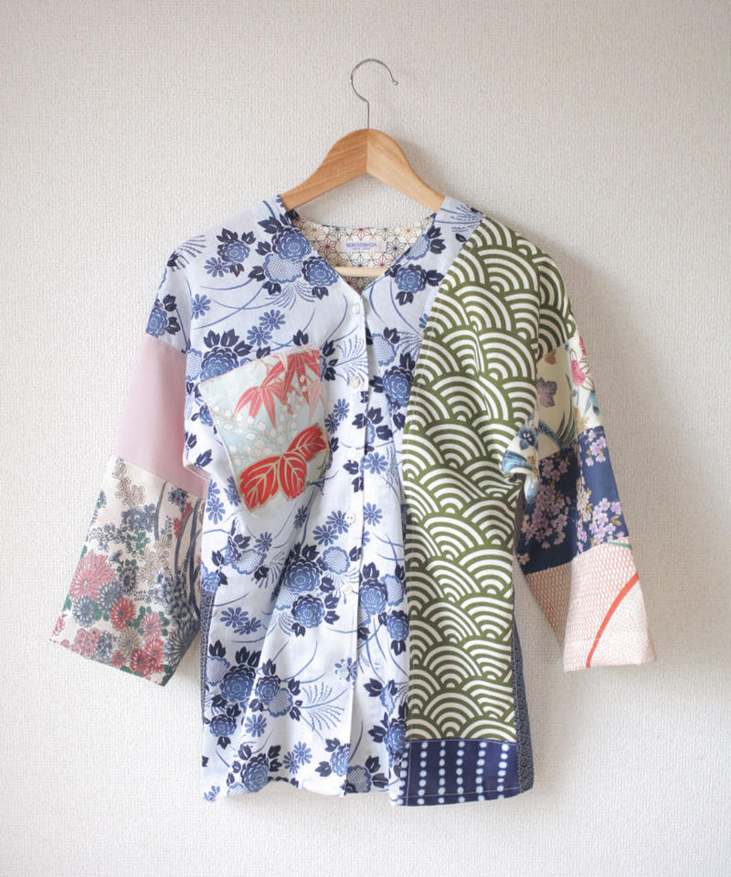 Patchwork flower pattern shirt (no.062)