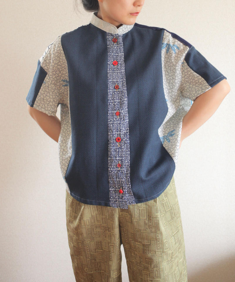 Patchwork mannish-look half sleeve shirt (no.165)