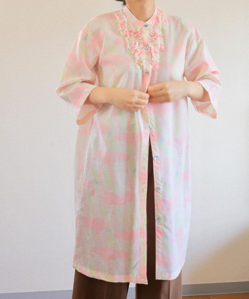 Pastel Pink colour Kimono shirt dress (no.279)