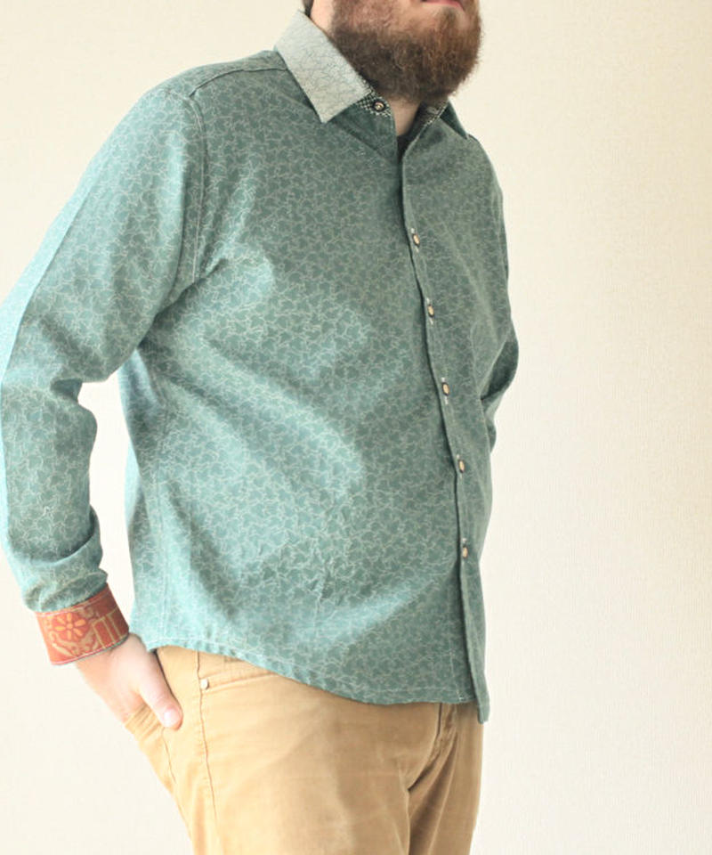 Men's Leaf pattern casual shirt (no.090)