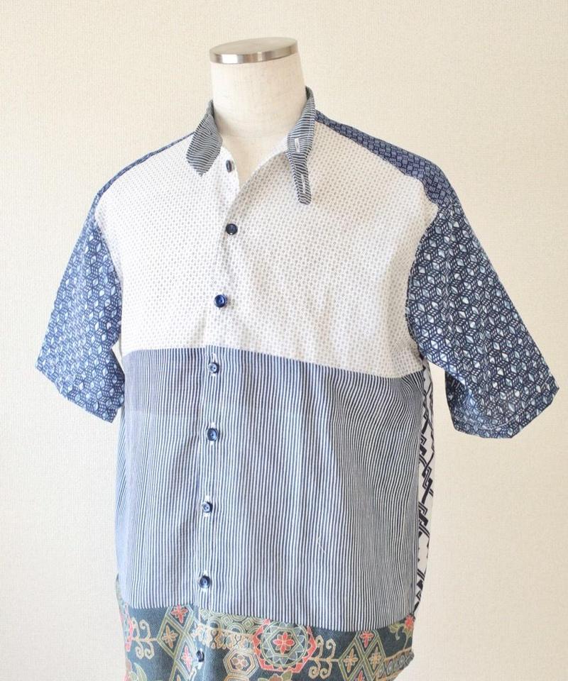White x blue Yukata Summer shirt (no.194)