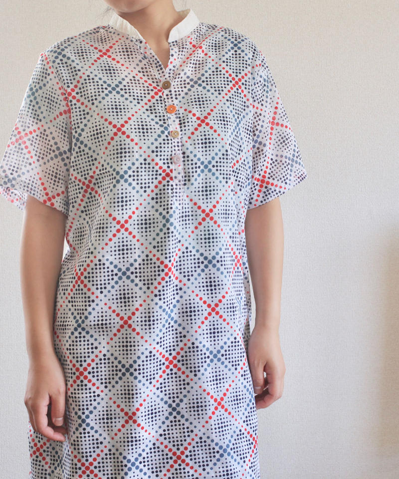 Vintage 3color dots long shirt dress (no.178)