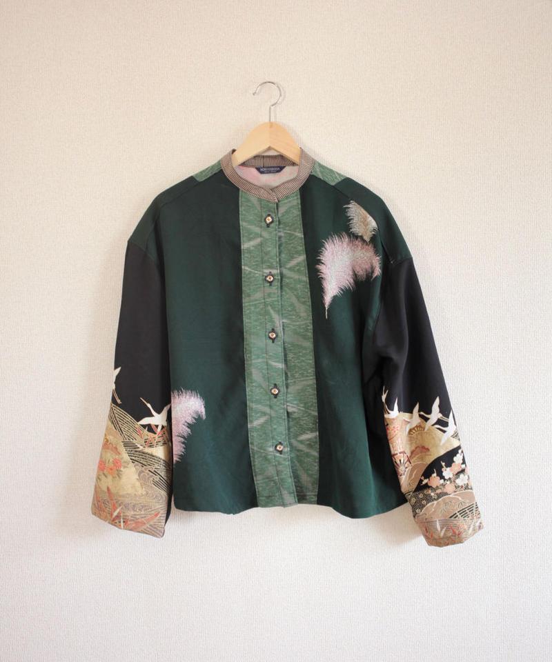 Dark green & Crane pattern Kimono shirt (no.281)