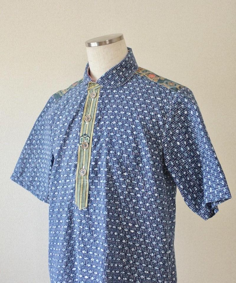 kimono&Yukata blue half-sleeve shirt (no.193)