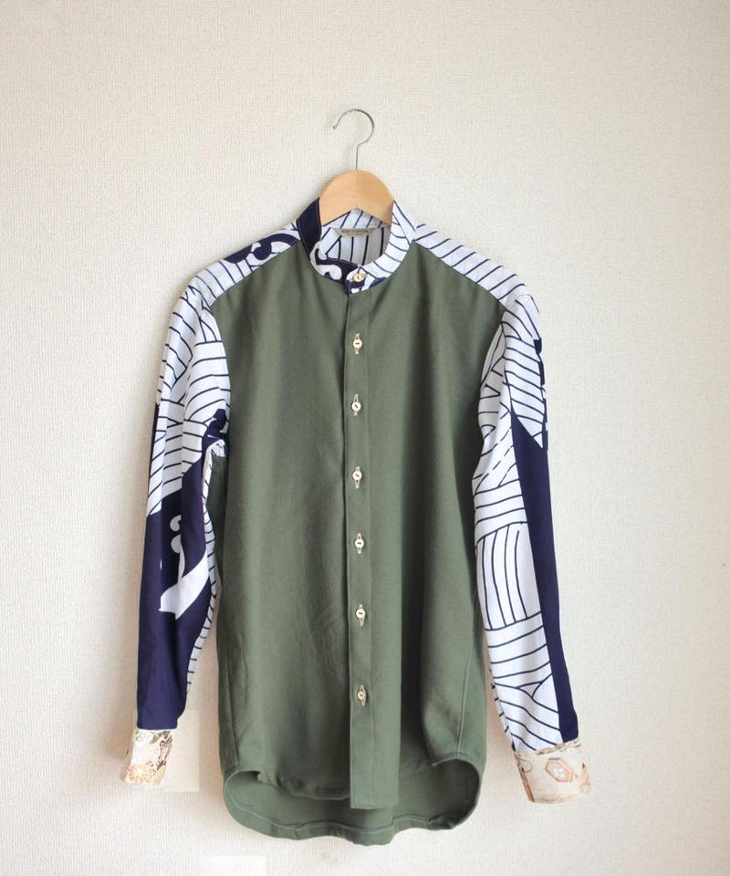 Moss green x Kimono casual shirt (no.142)
