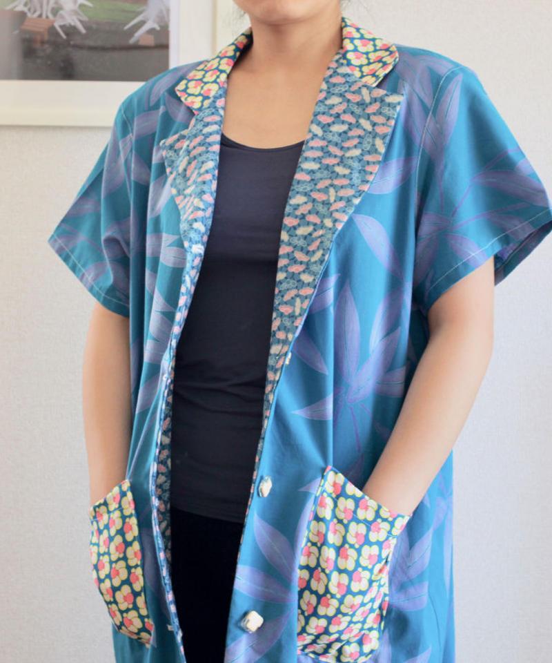 Sky blue cotton half sleeve long Jacket (no.156)