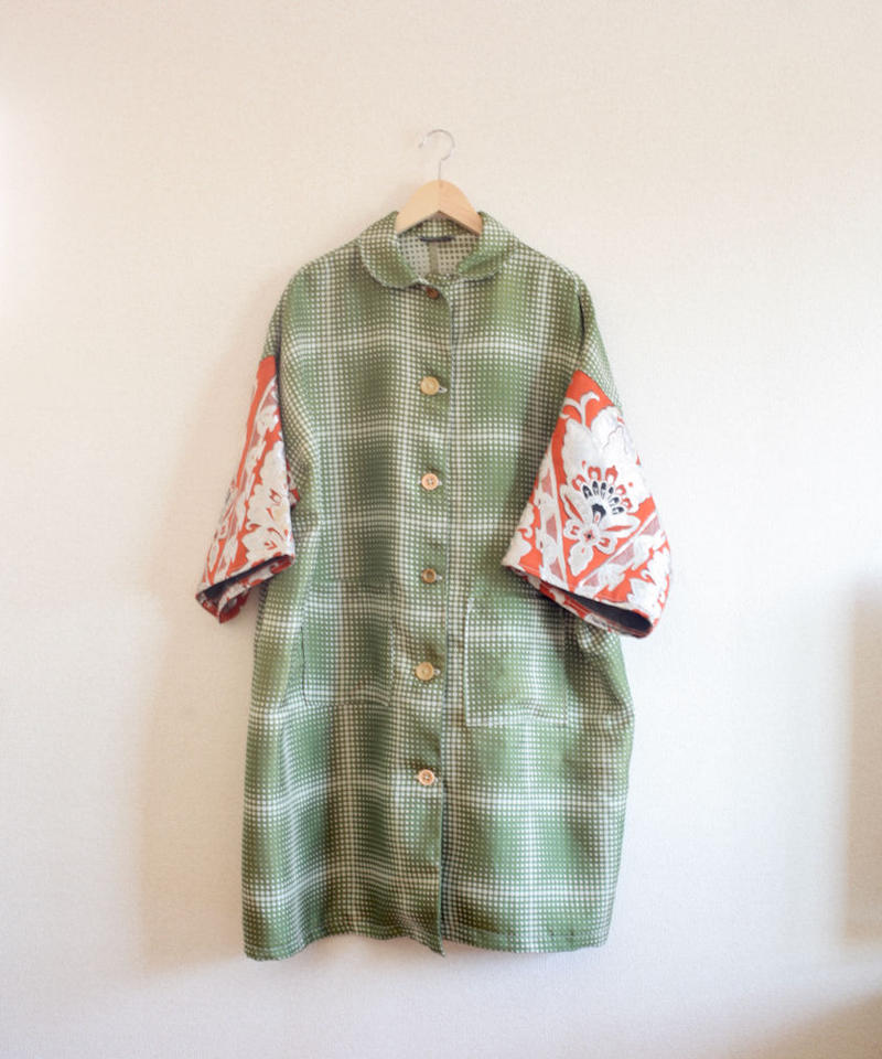 Matcha Green fabric x Silver embroidery Obi Long Coat (no.272)