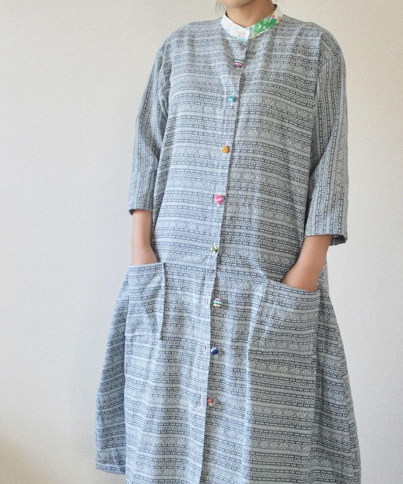 Gray color yukata Long jacket style shirt dress (no.196)