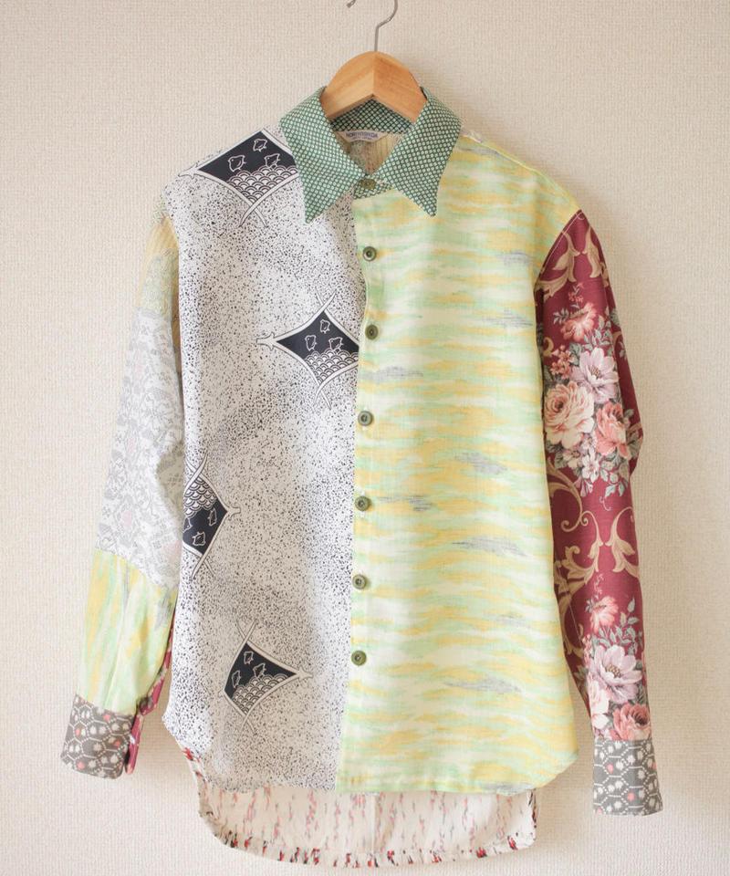 Men's Kimono patchwork shirt / Light green (no.066)