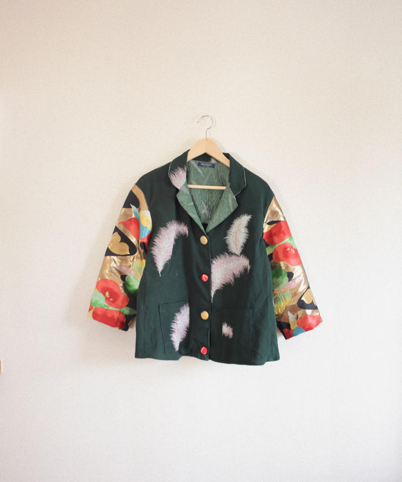 Gorgeous flower Obi& dark green Kimono Jacket (no.284)