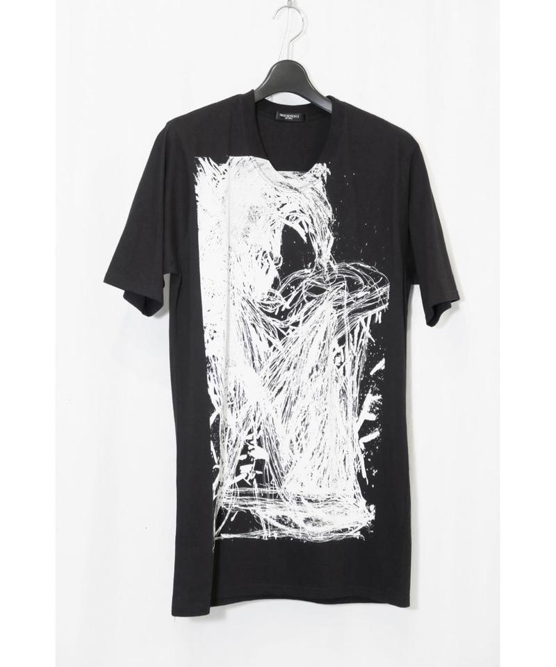 """DU-113 """"DISTORTION3"""" Face Print T Shirt"""