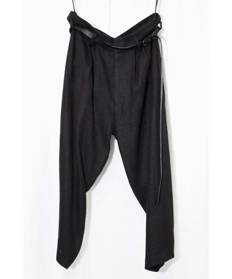 NU-1376 Linen Rayon Mesh 2 Tuck Pants w/ Leather Belt