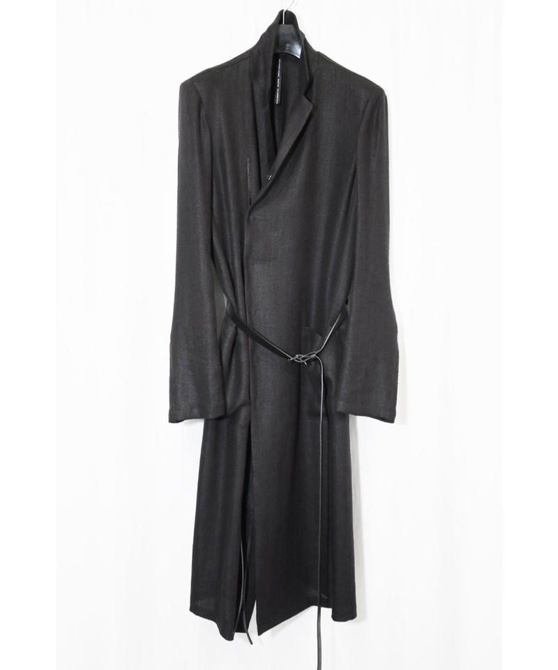 NU-1374 Linen Rayon Mesh Long Jacket w/ Leather Belt