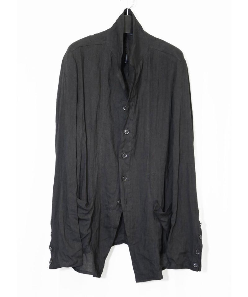 NU-1403 Linen/Ramie Washer Shirt Jacket - BLACK