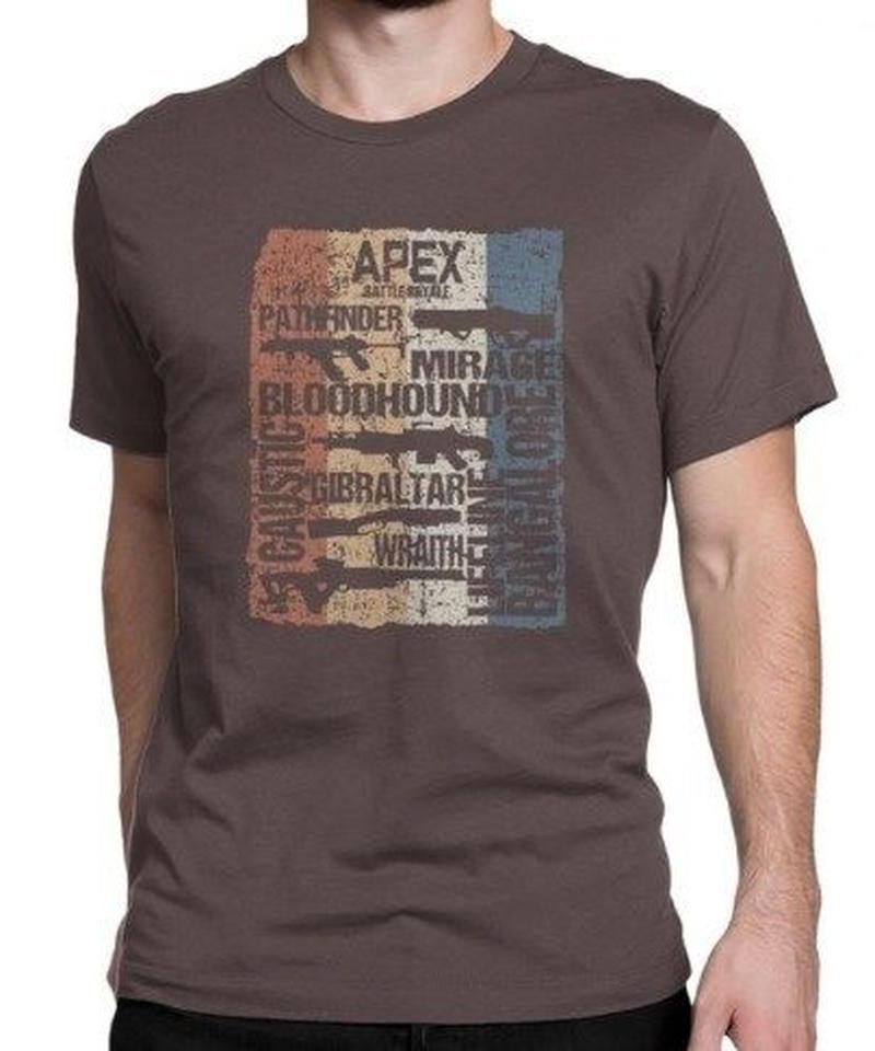 APEX LEGENDS レトロ ヴィンテージ風 イラスト フロントプリント メンズ 半袖Tシャツ ガンシルエット 夏服 トップス 高品質 大人用 100%コットン  S~6XL  ブラウン
