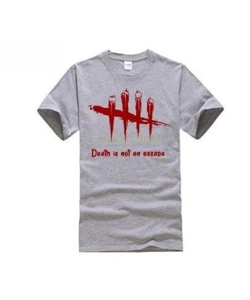 Dead by Daylight 5ライン ホラーテイスト イラストプリント 半袖 メンズ カジュアル Tシャツ S~XXXL ライトグレー
