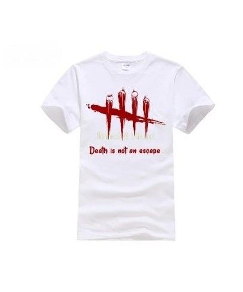 Dead by Daylight 5ライン ホラーテイスト イラストプリント 半袖 メンズ カジュアル Tシャツ S~XXXL ホワイト
