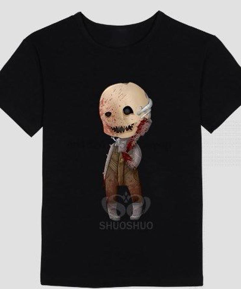 Dead by Daylight トラッパー デフォルメイラスト ユニーク ブラックカラー 半袖 メンズ Tシャツ カジュアル トップス 夏服 S~4XL