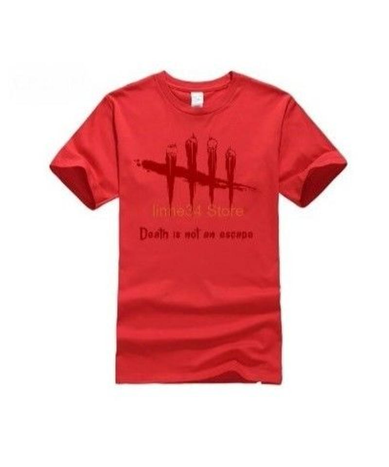 Dead by Daylight 5ライン ホラーテイスト イラストプリント 半袖 メンズ カジュアル Tシャツ S~XXXL レッド