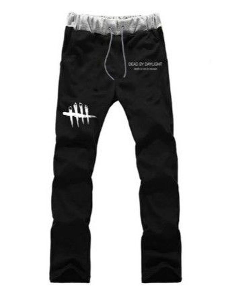 Dead by Daylight シンプル ロゴデザイン メンズ ジョガーパンツ カジュアル ウエストゴム ハーレムパンツ S~XXXL グレーブラック