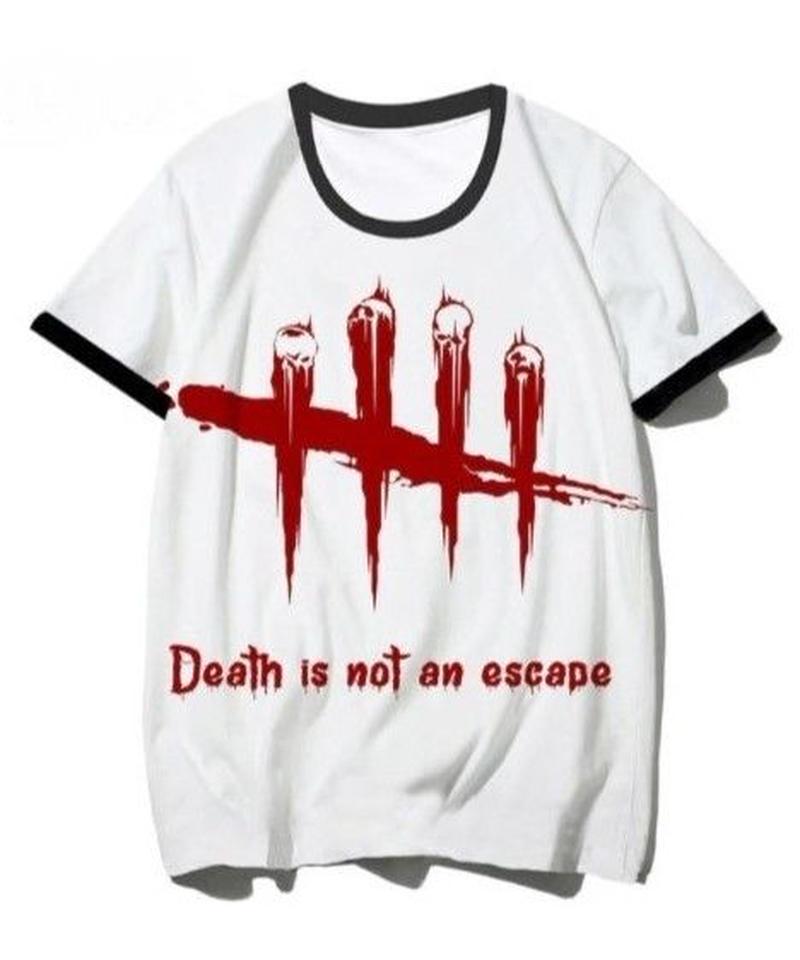 Dead by Daylight アクセントカラー 5ライン レッドロゴ 半袖 ストリート メンズ Tシャツ S~XXXL ホワイト