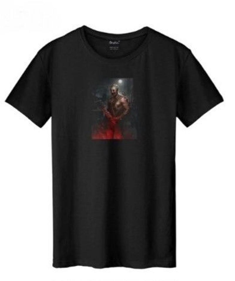 Dead by Daylight トラッパー リアルイラスト フロントプリント メンズ 半袖 Tシャツ ブラック S~XXXL