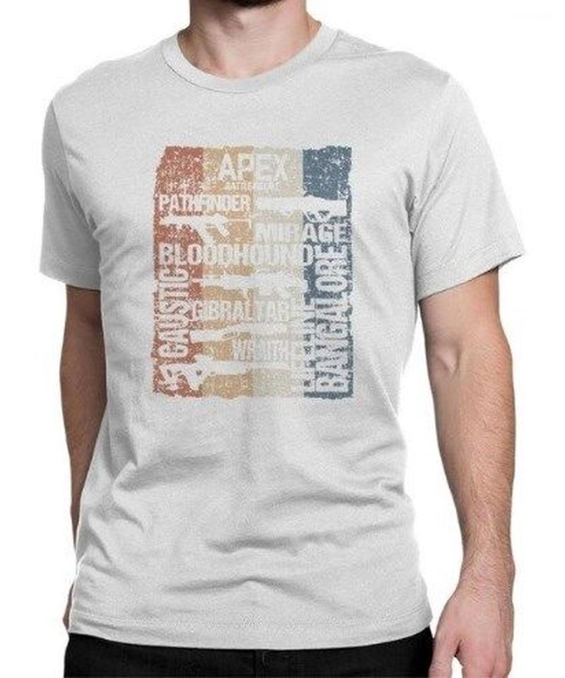 APEX LEGENDS レトロ ヴィンテージ風 イラスト フロントプリント メンズ 半袖Tシャツ ガンシルエット 夏服 トップス 高品質 大人用 100%コットン  S~6XL  ホワイト