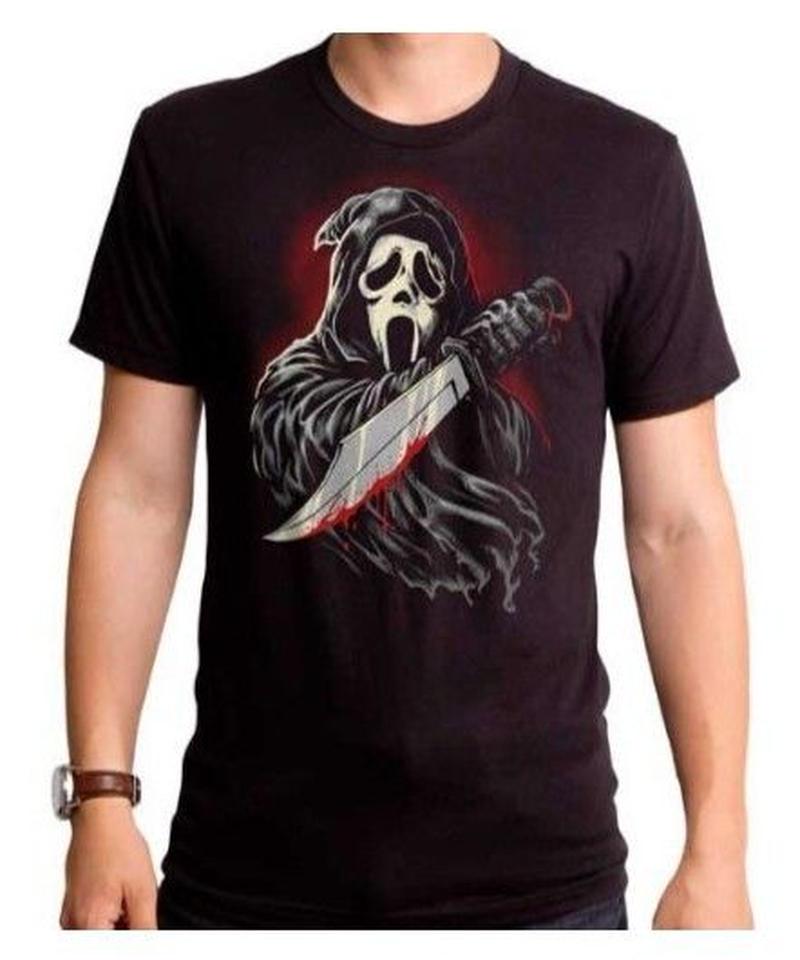 Dead by Daylight キラー ゴーストフェイス BIGイラスト ホラープリント 半袖 メンズ Tシャツ S~4XL ブラック