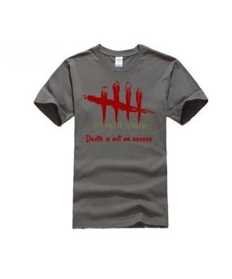 Dead by Daylight 5ライン ホラーテイスト イラストプリント 半袖 メンズ カジュアル Tシャツ S~XXXL チャコールグレー