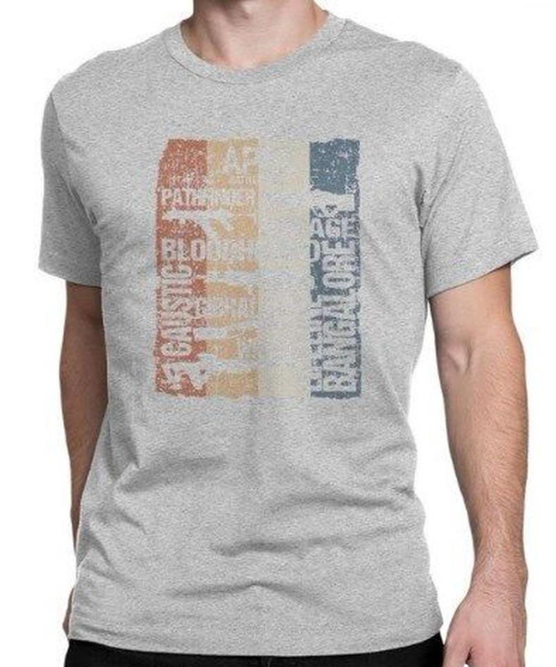 APEX LEGENDS レトロ ヴィンテージ風 イラスト フロントプリント メンズ 半袖Tシャツ ガンシルエット 夏服 トップス 高品質 大人用 100%コットン  S~6XL  グレー