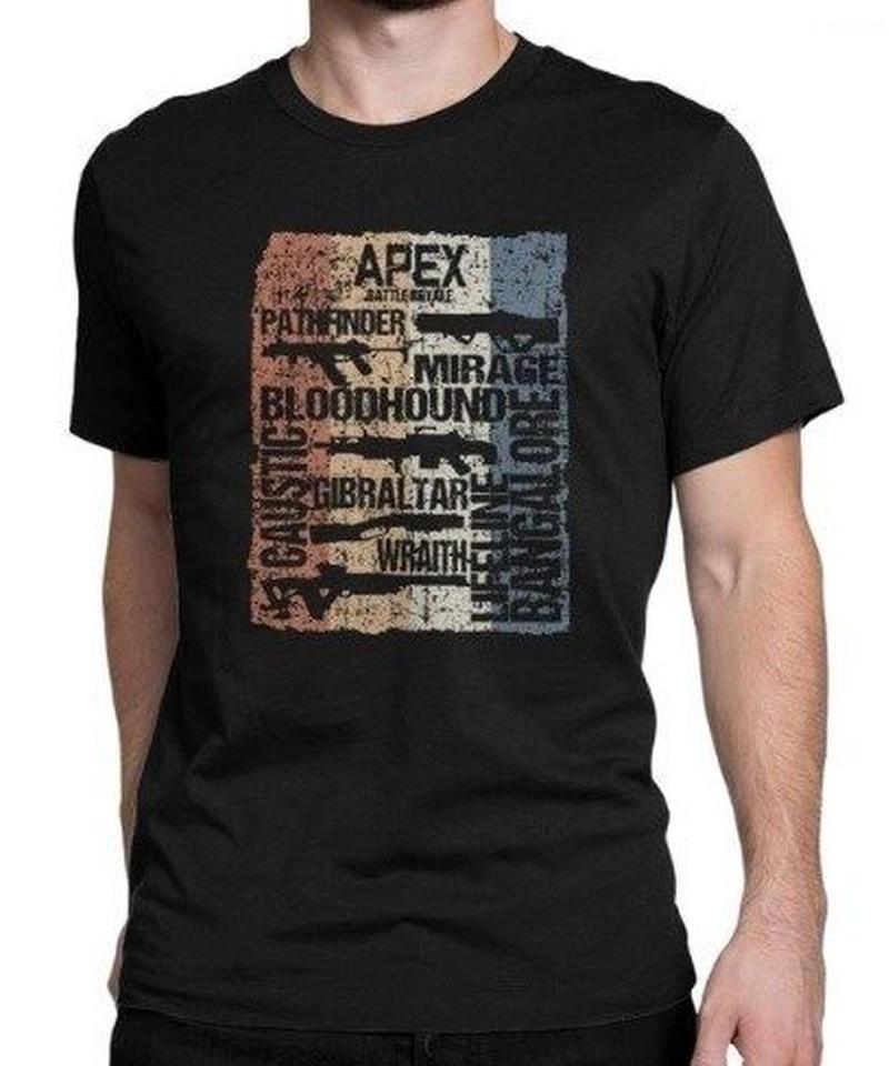 APEX LEGENDS レトロ ヴィンテージ風 イラスト フロントプリント メンズ 半袖Tシャツ ガンシルエット 夏服 トップス 高品質 大人用 100%コットン  S~6XL  ブラック