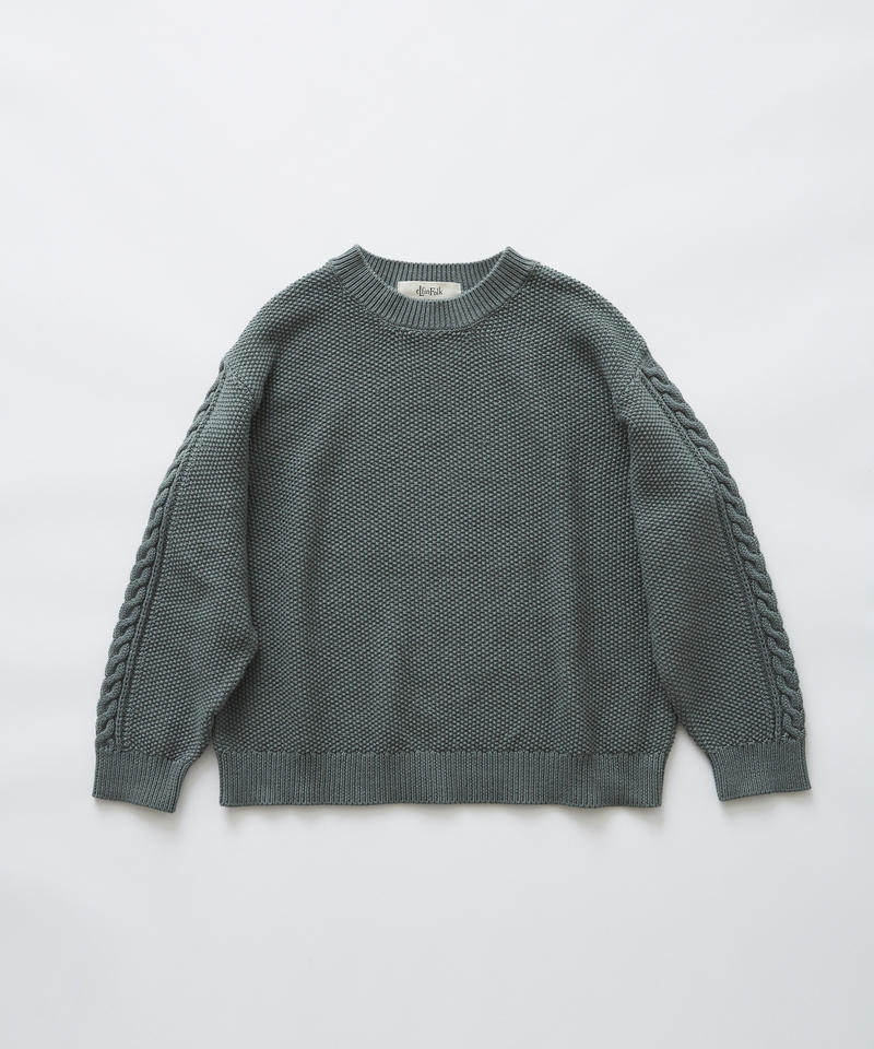 【 eLfinFolk 2019AW 】elf-191K13continuation moss stitch sweater / sage green / 110, 130cm