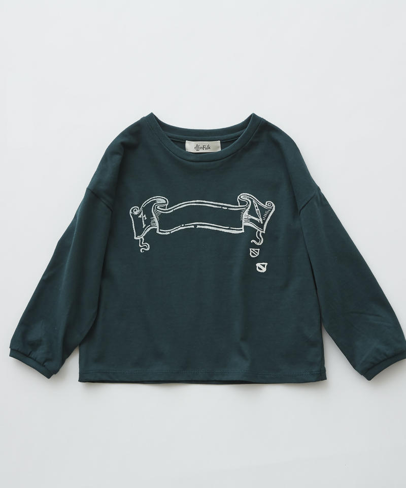 【 eLfinFolk 2019AW 】elf-192J02 flag print long sleeve-T /  green / 110 - 130cm
