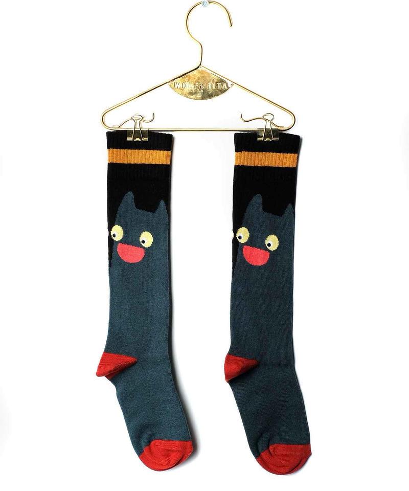 【 WOLF&RITA 2018AW 】 KIDS LONG SOCKS / GREEN CAT