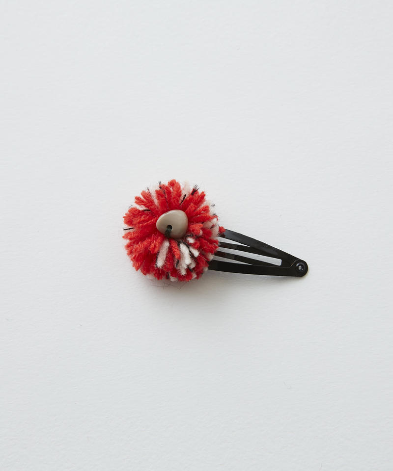【 eLfinFolk 2019AW 】elf-192A43 ponpon hair clip / red×white