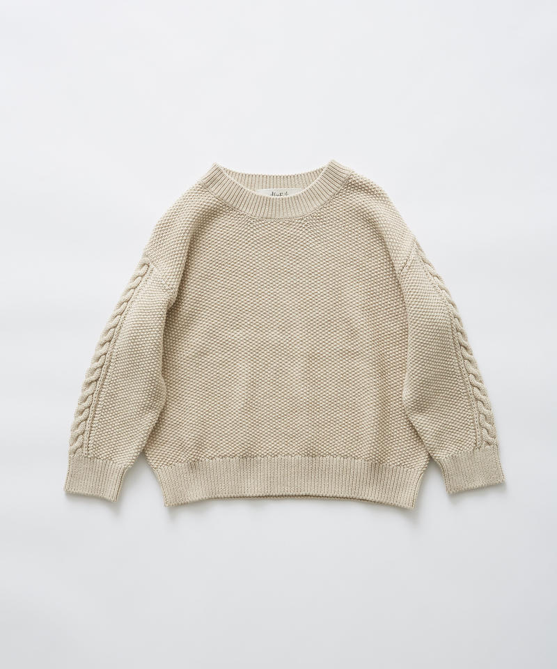 【 eLfinFolk 2019AW 】elf-191K13continuation moss stitch sweater / ivory / 110, 130cm