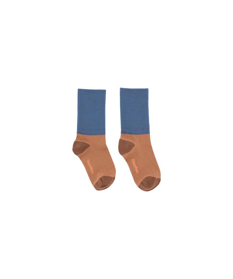 【 tiny cottons 2018AW 】 AW18-253 rib medium socks / terracotta/light navy